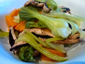 Bok Choy, Mushroom and Pumpkin with a zingy green sauce