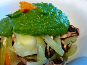 Bok Coy, Mushroom, and pumpkin with a zingy green sauce