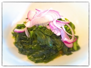 Spinach and Red onion