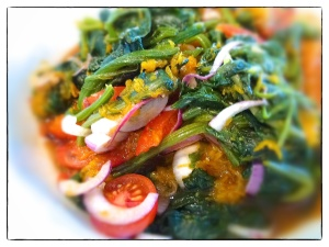 Low calorie recipe, spinach, red onion and pumpkin